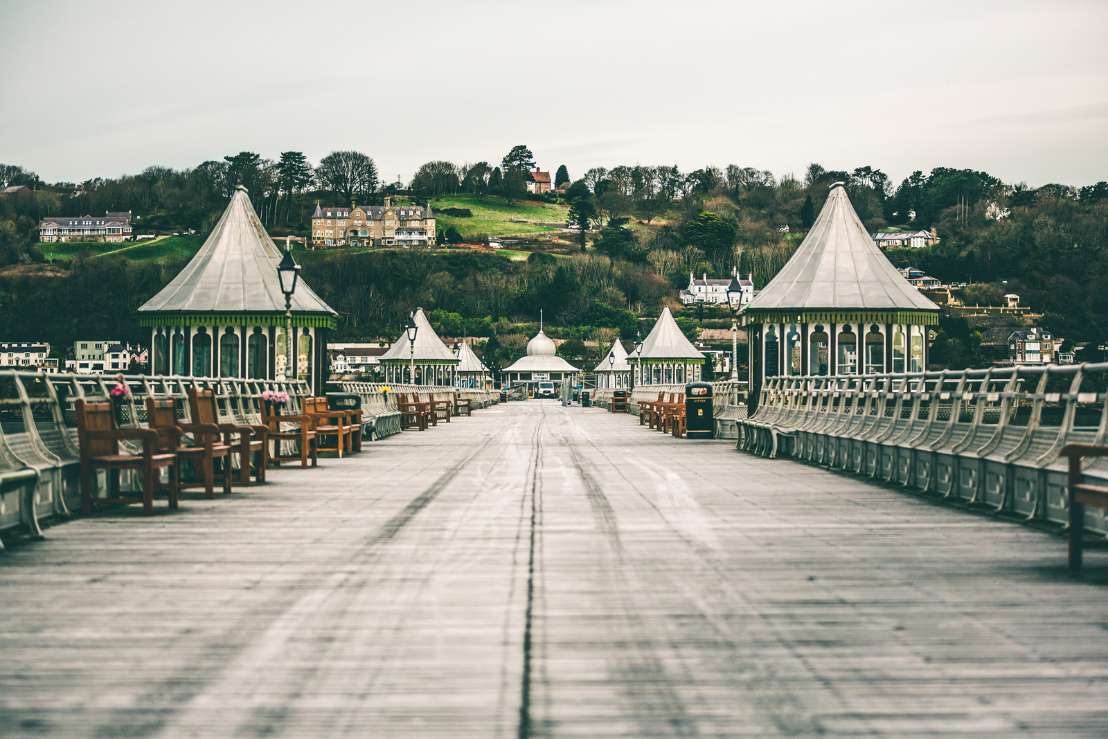 The view down Bangor pier in Gwynedd North Wales during an engineering restoration job by Evans Wolfenden Partnership.